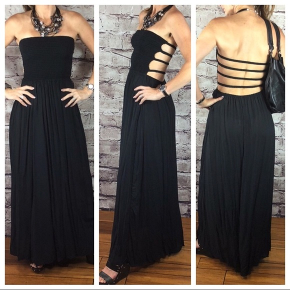 4c668be60c61 Elan Dresses | Strapless Ladder Maxi Dress Black Nordstrom | Poshmark